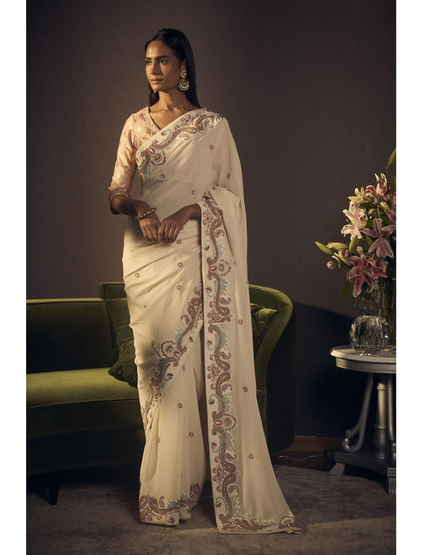Ivory Saree Set in Pure Georgette