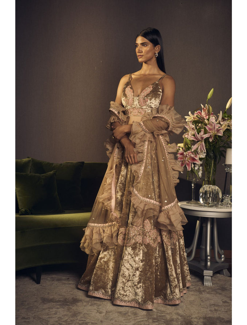 Sorbet Pink and Beige Lehenga Set in Velvet