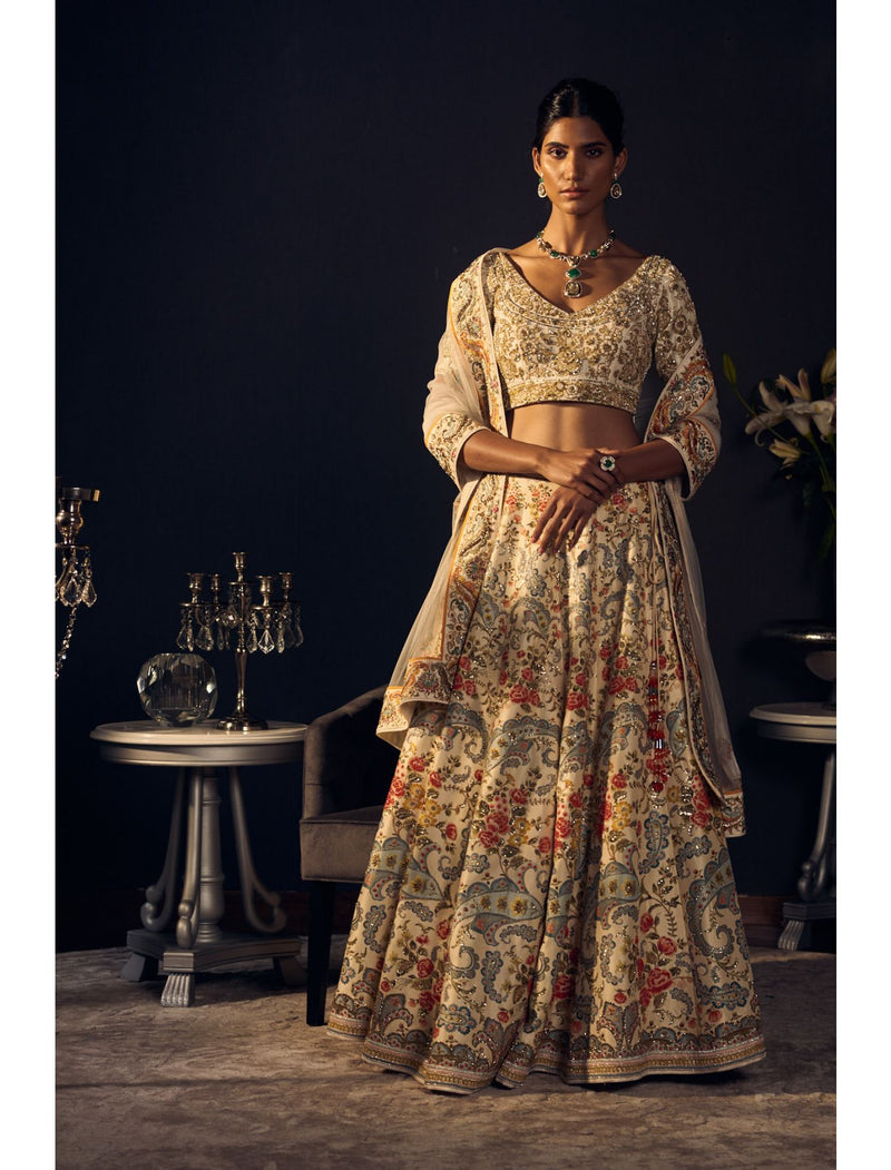 Multicoloured Lehenga Set with Floral Paisley Work