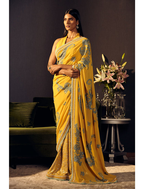 Mustard and Pale Blue Saree Set