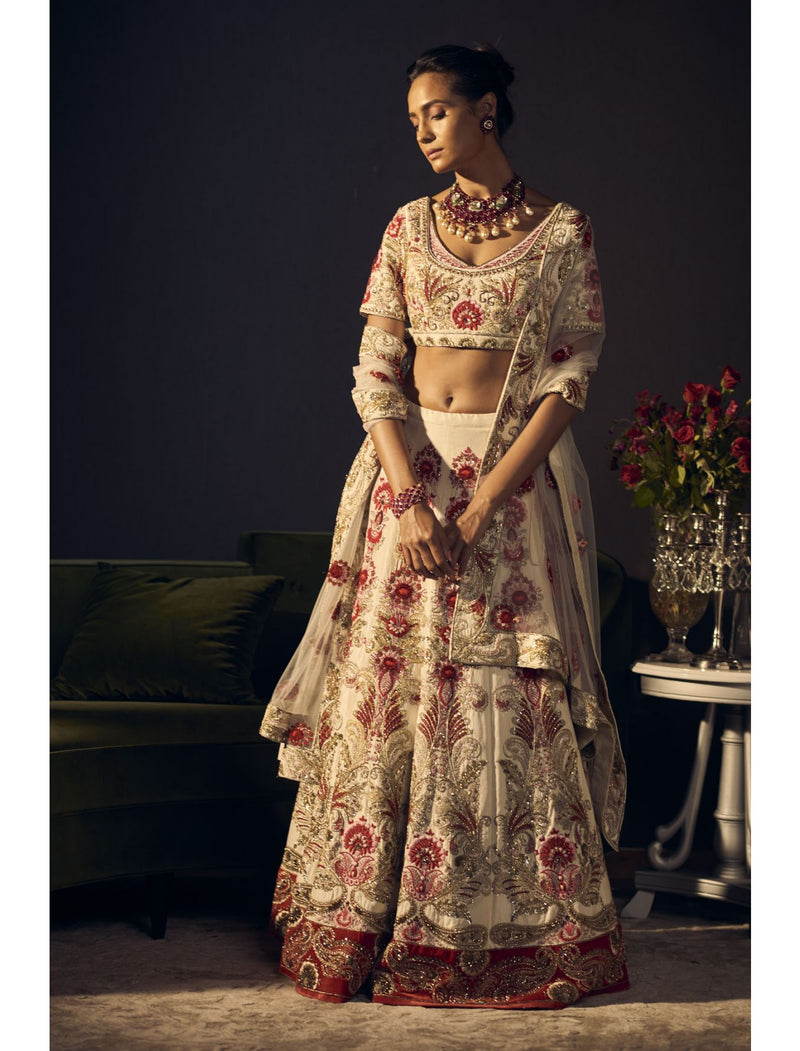 Intricate Hand Embroidered Ivory and Red Lehenga Set