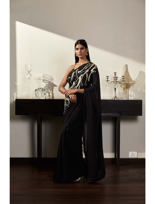 Pure Georgette Saree with Hand Embroidery and an Indian Raw Silk Blouse