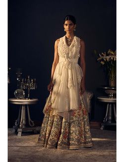 Ivory Cape with Ivory 3D Hand Embroidered Flowers Printed Lehenga with Hand Embroidery
