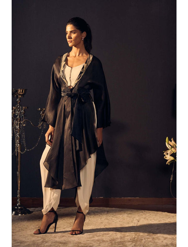 Asymetrical Hemline Cape with Hand Embroidery On Collar Dhoti Style Pants