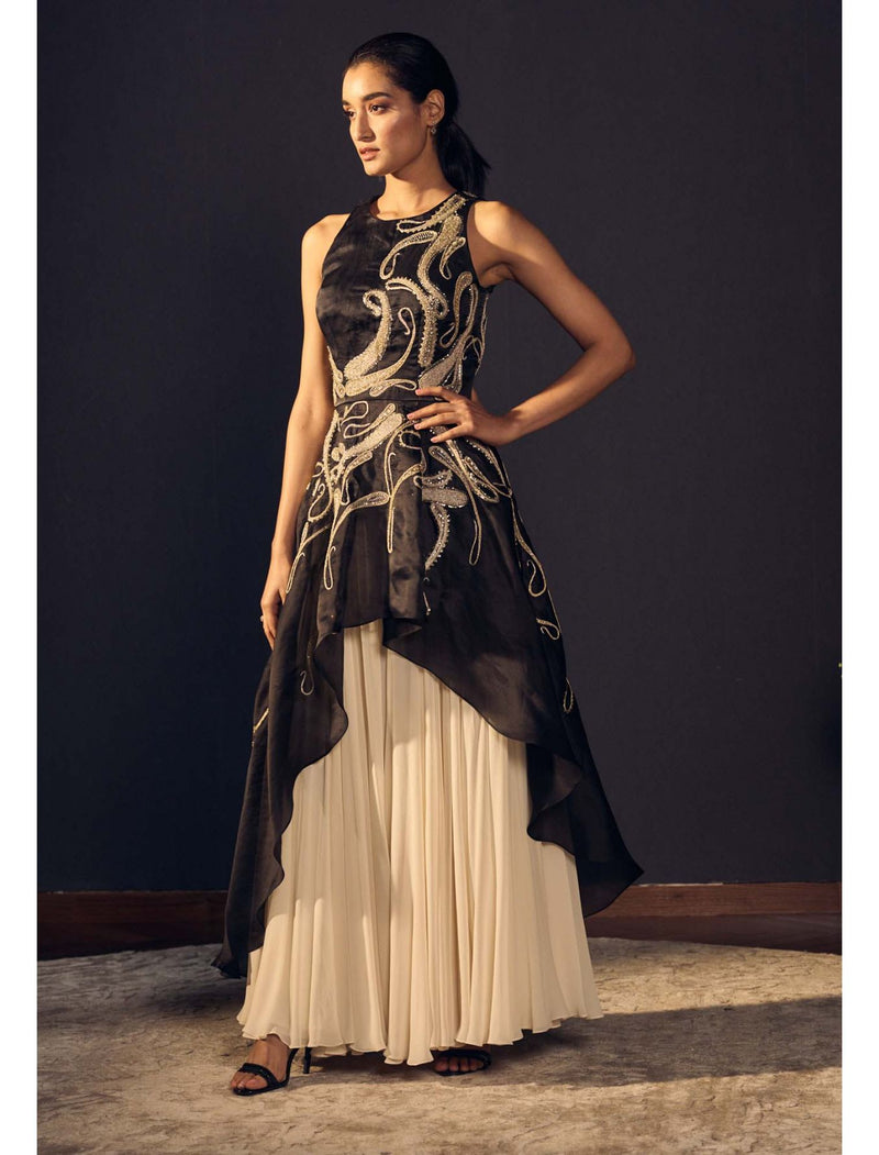 Satin Organza Hand Embroidered High-Low Gown with Georgette Fit & Flare Gathered Sharara