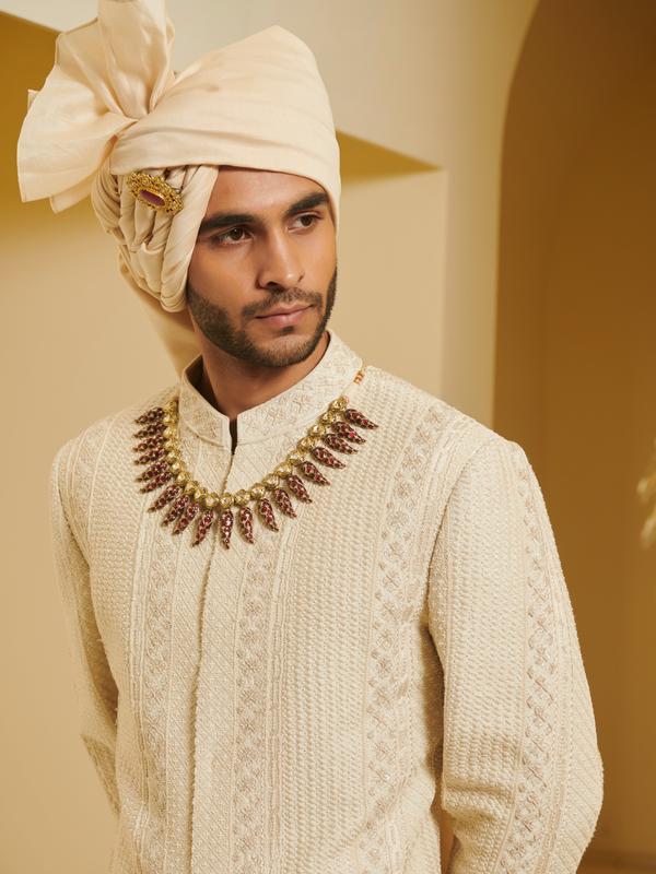 Embroidered Sherwani With Ivory Churidar