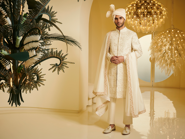Embroidered Ivory Sherwani