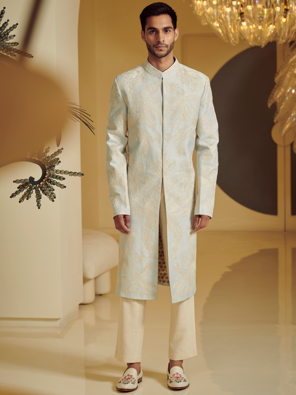 Embroidered Ice Blue Sherwani With Kurta And Churidar