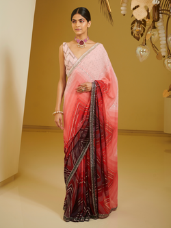 Chevron Printed And Embroidery Saree Set