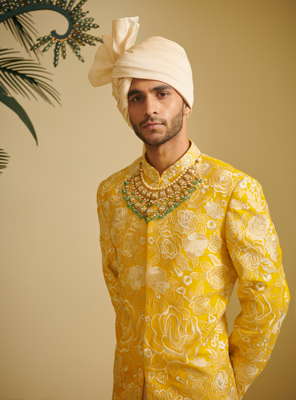 Embroidered Sherwani With Silk Ivory Churidar