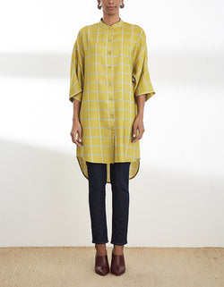 Mustard Printed High Low Tunic