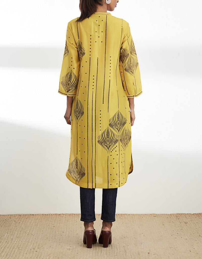 Mustard Digital Printed Kurta