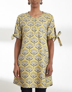 Mustard Printed Short Tunic