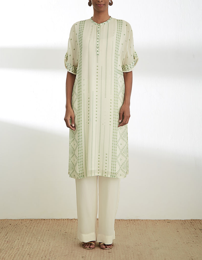 Sage Green and Ivory Printed Tunic