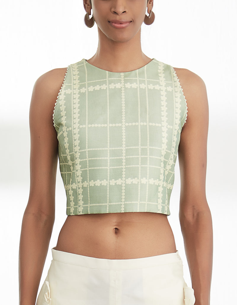Sare Green Crop Top