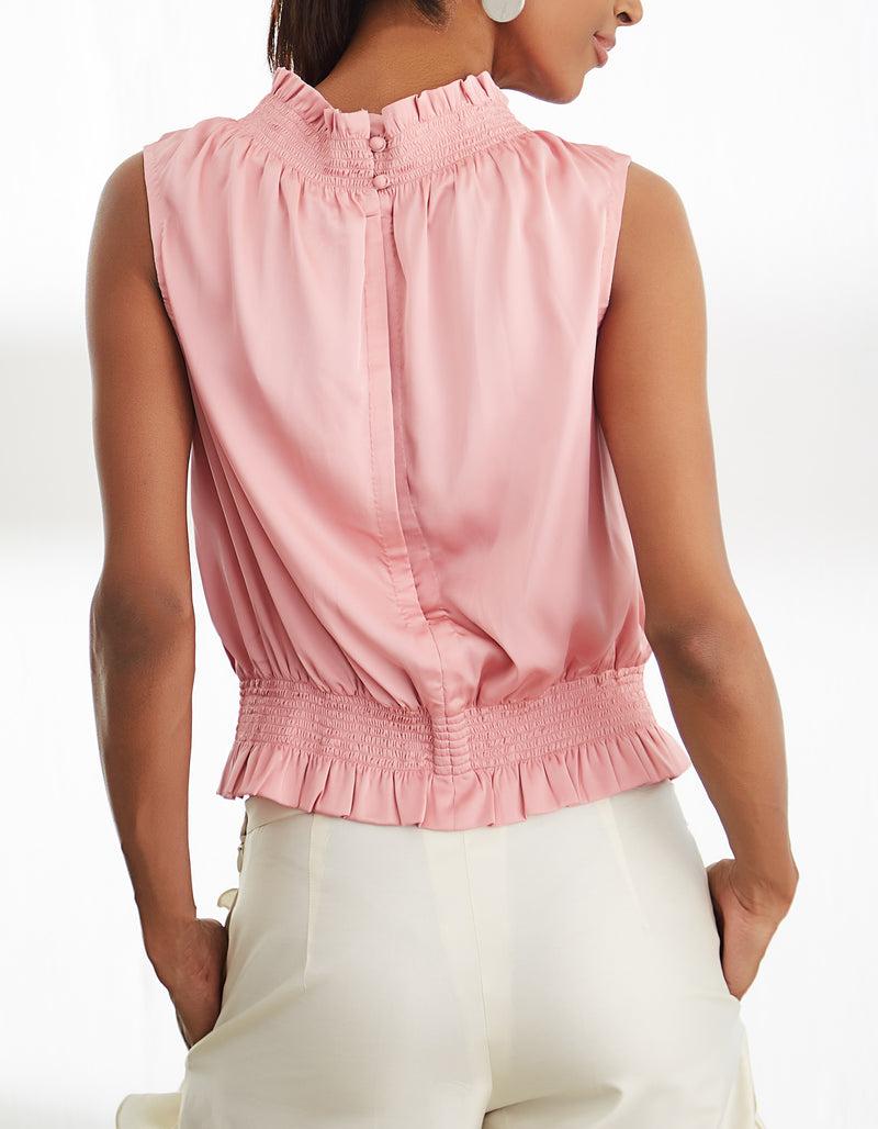 Pink Poly Satin Top