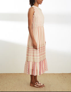 Ivory and Pink Mid Length Dress