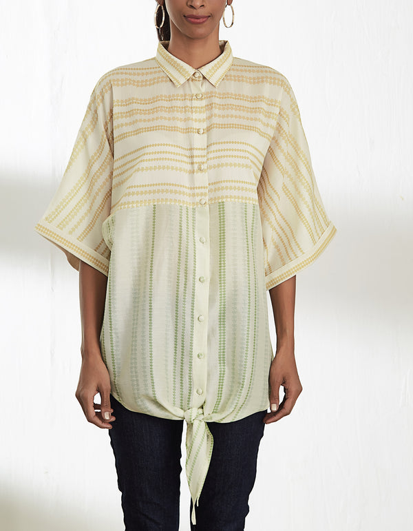 FRONT KNOT SHIRT WITH PANELING