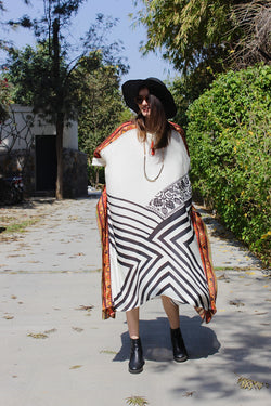 Stripe and Kilim Asymmetric Kaftan