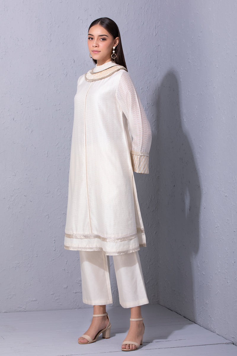 Gota Edge Ivory Cutwork Detailed Kurta