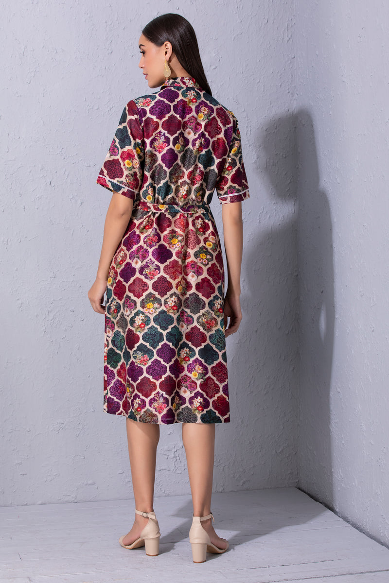 Moroccan Touch Printed Shirt Dress
