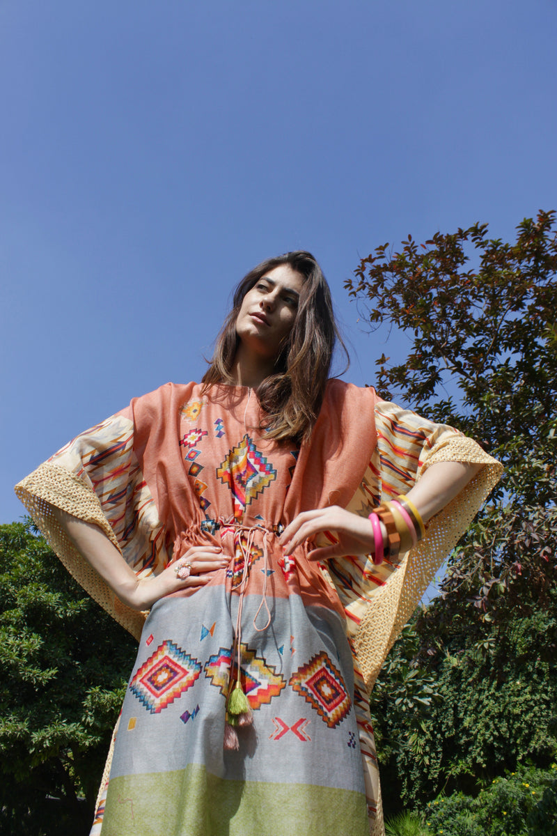 Multicoloured Kilim Printed Drawstring Kaftan
