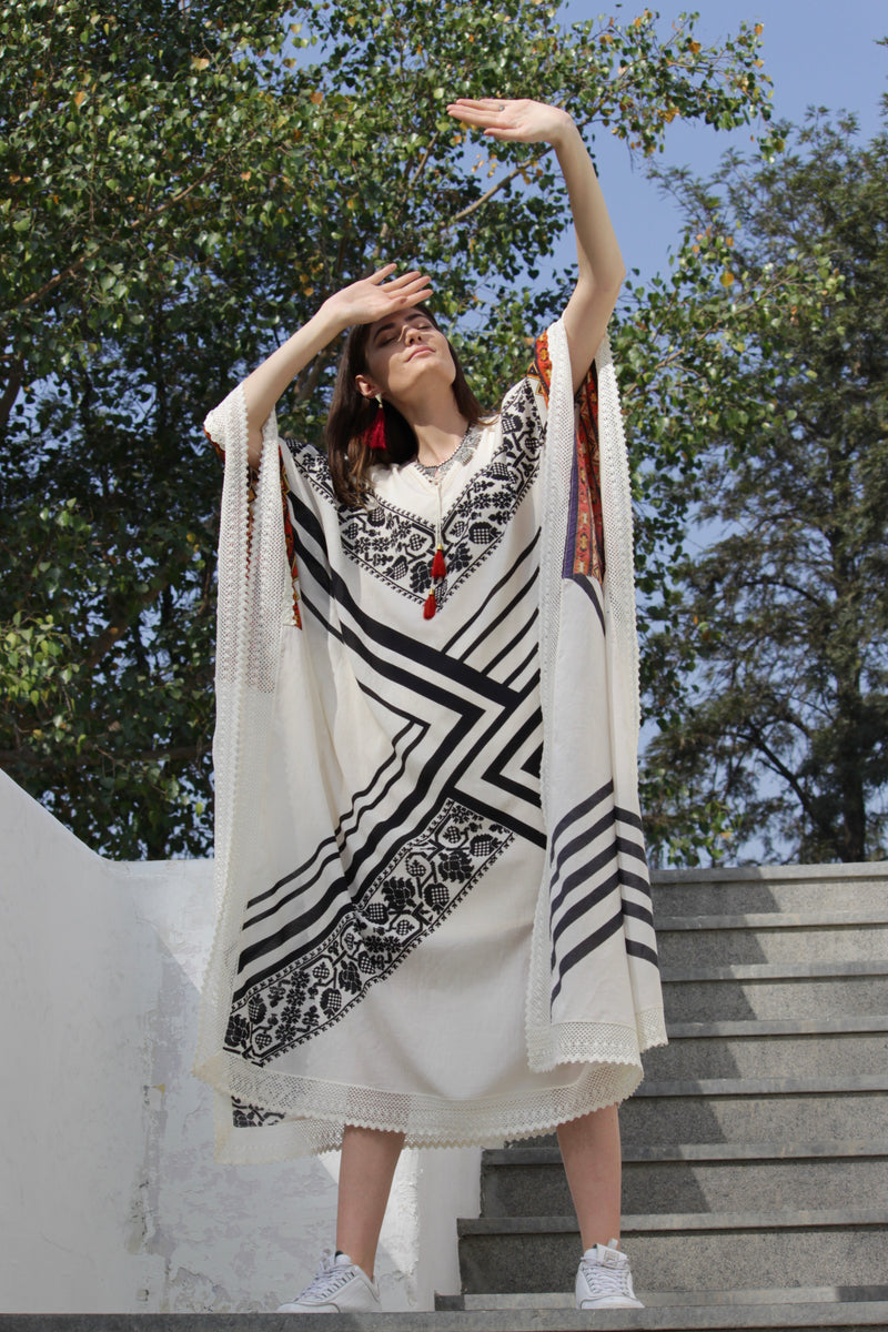 Stripe and Kilim Long Kaftan