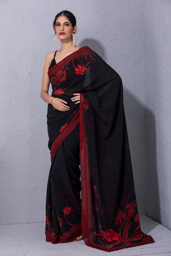 Iris Flower Black Printed Saree