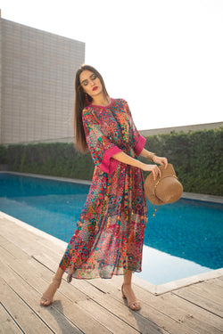 Floral Geometry Printed Long Kaftan