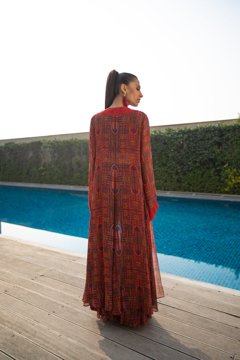 Abstract Moroccon Maroon Cape