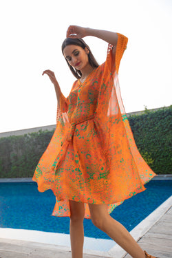 Tangerine Throw Print Kaftan