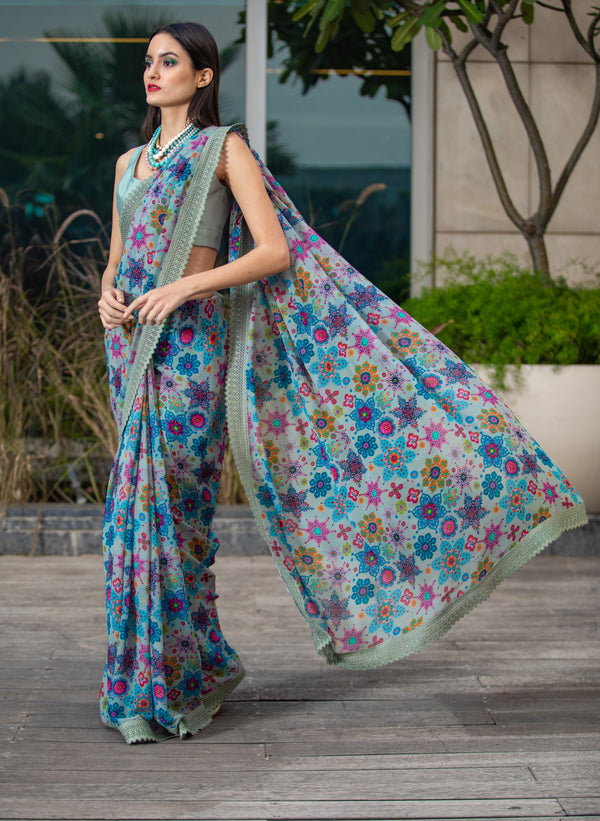 Scattered Floral Dusty Blue Saree Set