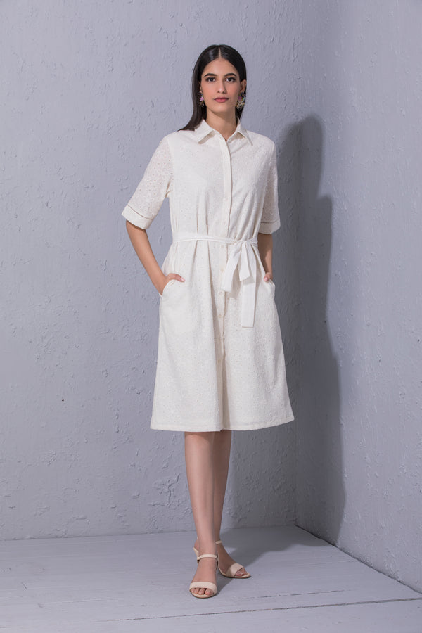 Schiffli Shirt Dress