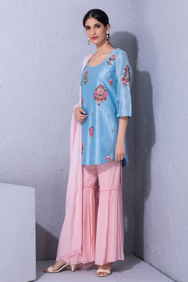 Bunch Of Flower Embroidered Kurta & Sharara Set