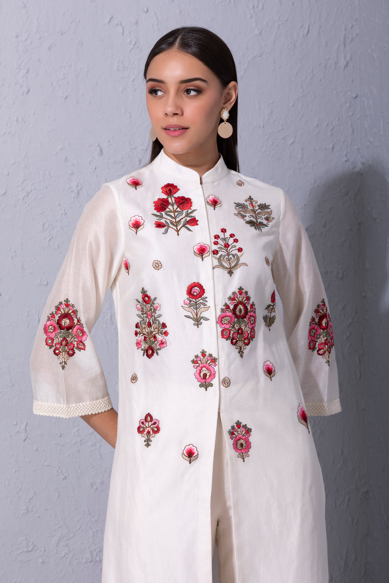 Bunch Of Flower Front Open Kurta Set