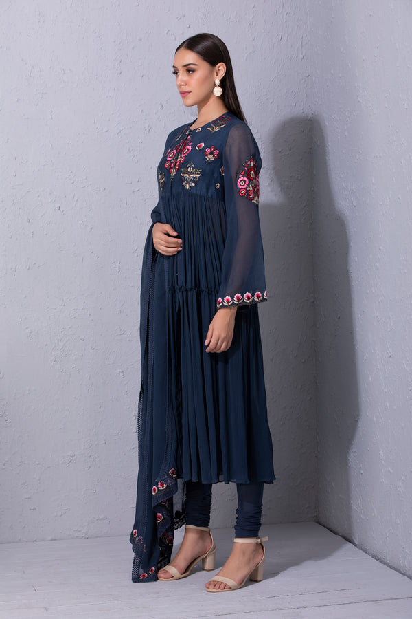 Bunch Of Flower Chiffon Tiered Anarkali