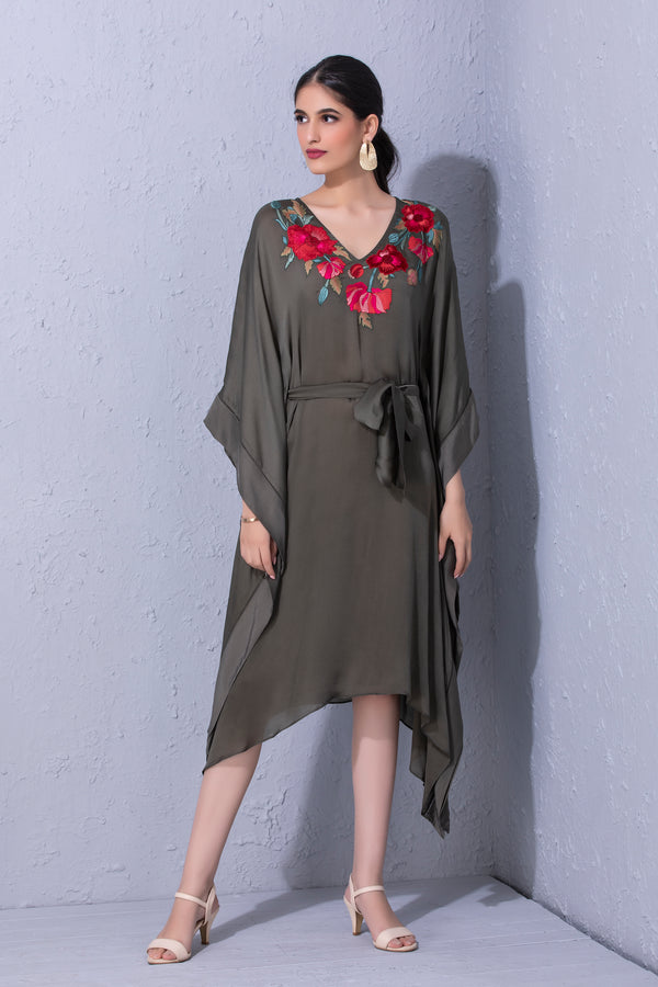 Pomegranate and Poppy Flower Olive Green Kaftaan