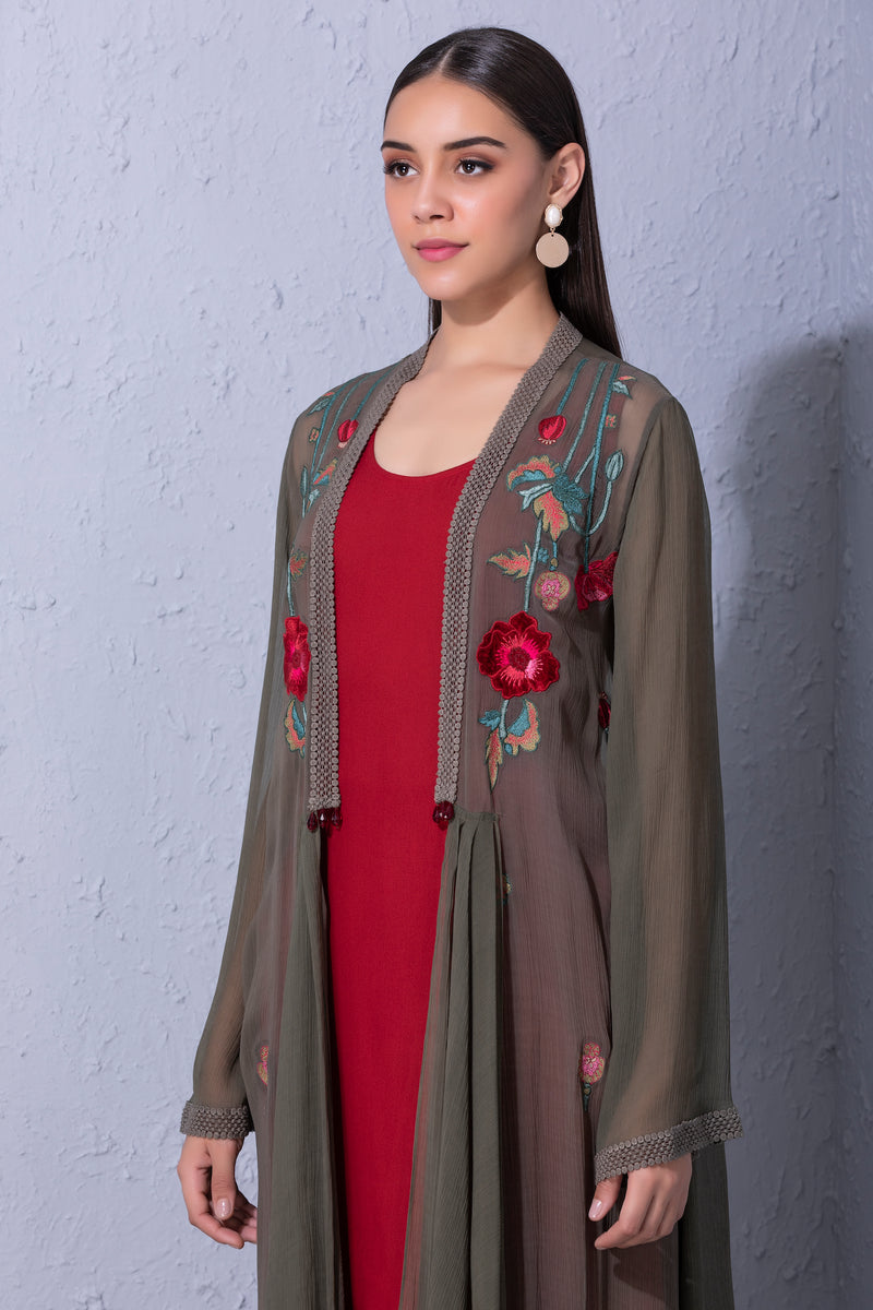 Pomegranate and Poppy Flower Olive Green Overlay Set
