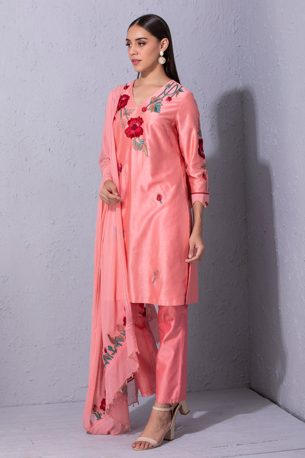 Pomegranate and Poppy Flower Bubblegum Pink Kurta