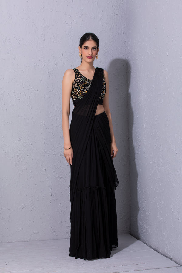 Black Pre Stitched Saree Set