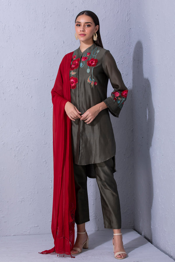 Pomegranate and Poppy Flower Olive Green Kurta Set