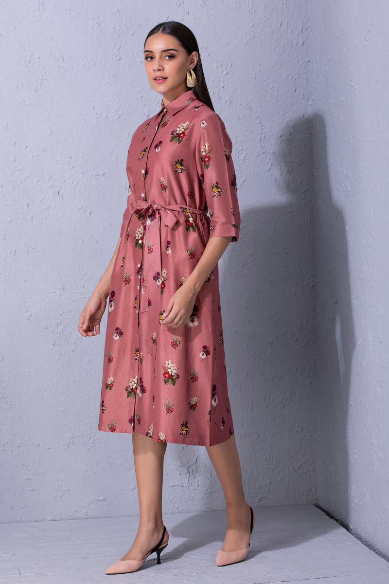 Signature Varun Bahl Floral Printed Shirt Dress
