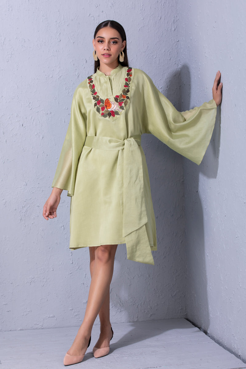 Bird Story Pistachio Green Tunic With Belt