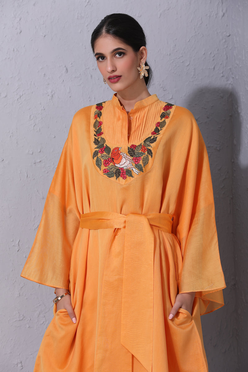 Bird Story Light Orange Tunic With Belt