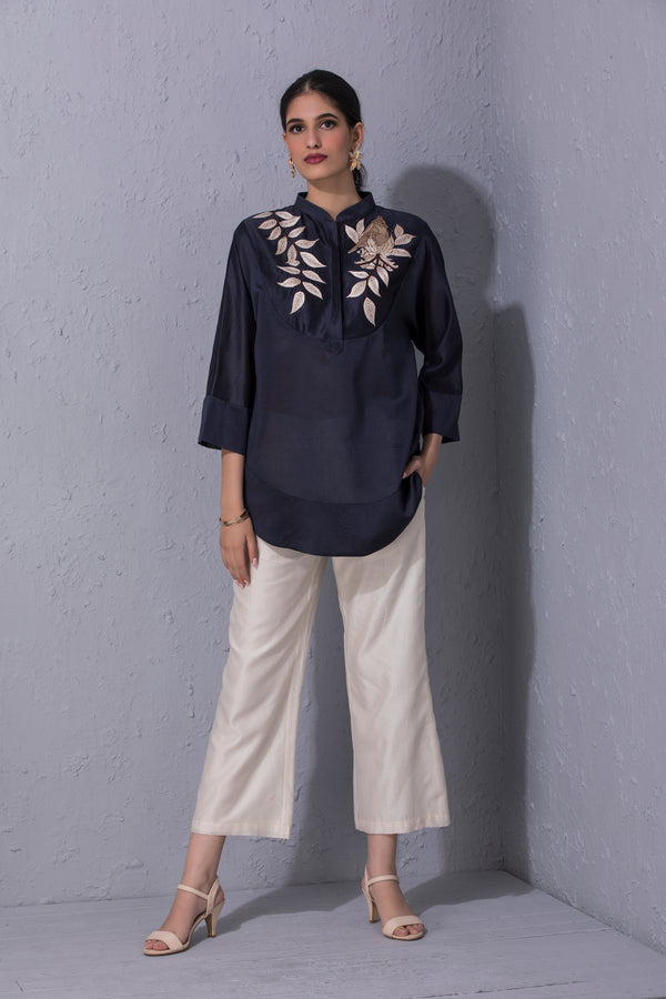 Bird Story Navy Blue Short Tunic