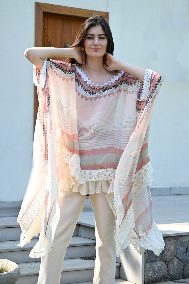 Coral Kilim Georgette Printed Cape with Straight Pant