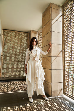 Ivory Chanderi Jacket Set
