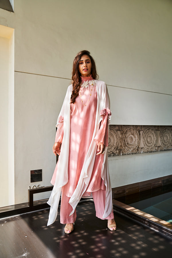 Chanderi Kurta and Pant with Georgette Cape