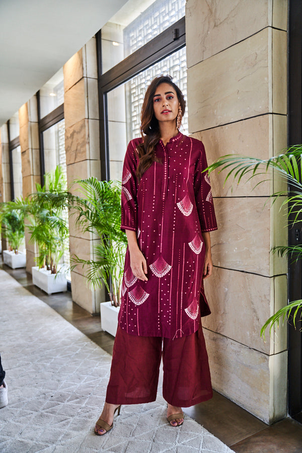 Burgundy chanderi kurta set