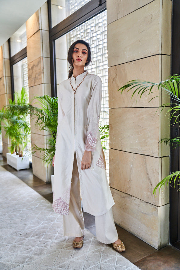 Ivory Chanderi Kurta Set